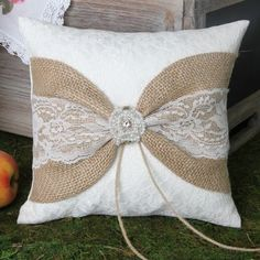 Selina Lace and Burlap Rustic Ring Pillow