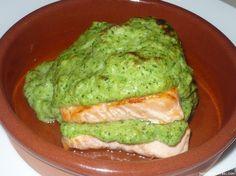 Receta de Salmón fresco con bechamel de brócoli