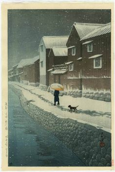 HASUI Japanese Woodblock Print A Walk in The Snow 1935 | eBay