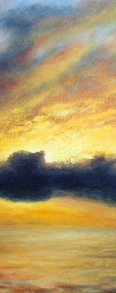 Sky on fire. Detail from 'Racing the Storm'. Oil painting on canvas by Nial W. Adams