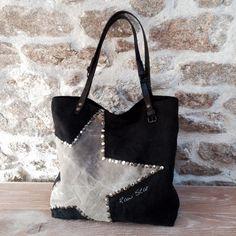Sac vintage entièrement façonné à la main Toile coton épais teint en noir et appliqué d'une étoile lin écru délavée en coton (matériaux anciens...