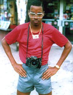 a self-portrait of classic hip-hop culture photographer, Jamel Shabazz, ca. 1980s.