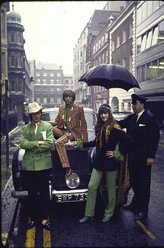 Julian and Victoria Ormsby-Gore with friend, all in Mod fashions, in London in 1968.  The Mod point of view included upholstery-like retro fabrics and tailoring and made the biggest impression in 1960s London.