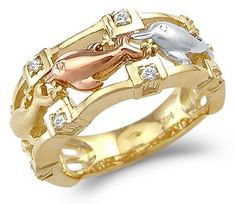 Size- 10 - 14k Tri-Color Gold Unique Three Dolphins Together Ring * Continue to the product at the image link.