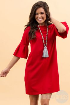Pretty and Proper Dress in Red Monday Dress, Marley Lilly, Monogram Gifts, New Wardrobe, Unique Gifts, Cold Shoulder Dress, Pretty, Red, Dresses