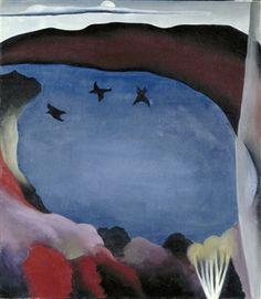 georgia o'keeffe. lake george with crows,1921