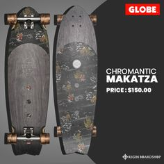 "The Chromantic skateboard is a medium-length surf inspired swallow tail cruiser. Featuring resin-7 hard rock maple, mellow concave with kick tail, 6.0"" Tensor alloy trucks, 62mm 83a wheels and clear broadcast grip. Get this cool cruiser today!  Lookin' for more cool cruisers? Checkout our collection at Originboardshop.com  #globebrand #globeskateboarding #globeskateboards #globecruiser #skater #skateboarding #skatetricks #skatelife #skateshop #thrasher #skateboard #skateboards… Skate And Destroy, Supra Shoes, Complete Skateboards, Skate Decks, Thrasher, Rip Curl, Skate Shoes, Globes"