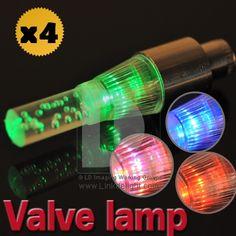 4xColorful Flash Bicycle Bike LED Valve Cap Tyre Stem Light Lamp