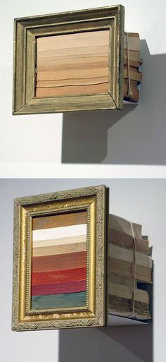 Stack some books, bind them & frame the resulting stripes.