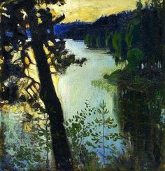 Akseli Gallen-Kallela Landscape from Ruovesi hand painted oil painting reproduction on canvas by artist Nordic Art, Scandinavian Art, Landscape Art, Landscape Paintings, Wow Art, Paintings I Love, Art And Illustration, Illustrations, Nocturne