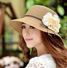 Flower straw hat for women package sun hats beach wear