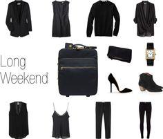 """Long Weekend: Black on Black"" by keelyhenesey on Polyvore"
