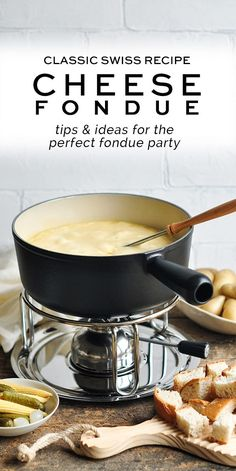 How to make a classic Cheese Fondue using Gruyère, Vacherin Fribourgeois and Camembert. This classic recipe from Switzerland is perfect for sharing with friends. Dips Für Fondue, Fondue Party, Fondue Recipes, Easy Appetizer Recipes, Yummy Appetizers, Cheese Recipes, Snack Recipes, Copycat Recipes, Snacks