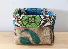 Upcycled Coffee Sack and African Wax Print Slouch by BeenAndDone