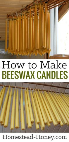 Love to light your home with beeswax candles? Learn more about the process of making beeswax candles at home. They are surprisingly easy to make! | Homestead Honey #candlemaking #beeswaxcandles #weddingcandles