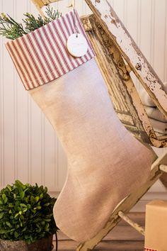 Christmas Stocking Flax Linen with Pottery Barn Red Ticking cuff by SuttonPlaceDesigns