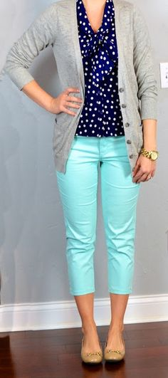 Outfit Posts: outfit post: navy polka-dot tie blouse, grey boyfriend cardigan, mint cropped pants, nude flats