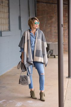 One of my fave looks as of late is none other than this Wrap paired with (sale) Booties and Distressed Denim