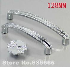 Modern 128mm Furniture Handles Hardware Crystal Set Diamond Drawer Wardrobe Kitchen Cabinets Cupboard Pull Door