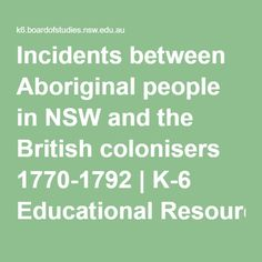 Incidents between Aboriginal people in NSW and the British colonisers 1770-1792…