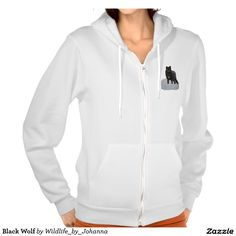 Black Wolf Hooded Sweatshirt. You'll feel comfortable and cozy in this Flex Fleece hoodie, a best-selling style by American Apparel. Wear it to sporting events, hiking, and more. Super-soft and warm, you'll be sure to wear this sweatshirt for a long time to come. Designed by Johanna Lerwick - Wildlife/Nature Artist.