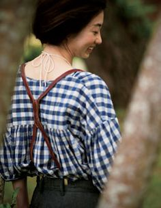 gingham blouse and suspenders