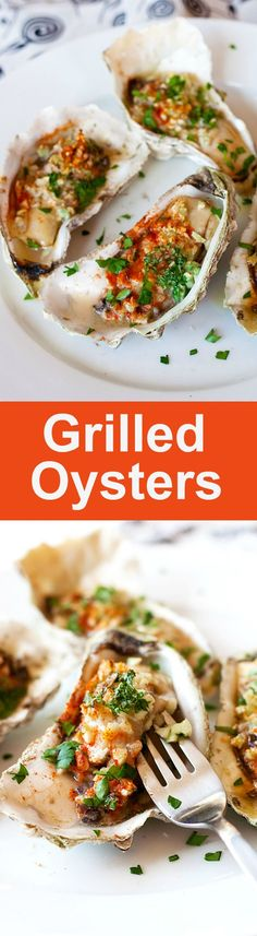 Grilled oysters – oyster on the half shell with garlic, butter, parsley and paprika. Juicy, briny and crazy delicious grilled oysters recipe | rasamalaysia.com