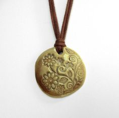 Ceramic Jewelry Stoneware Pendant for Necklace - Daisies Vines and Leaves Brown and Tan