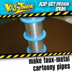 "Make faux-metal cartoony pipes. you'll need: - 4"" to 6"" PVC pipe. (whatever length you need) - brushed-metal shelf liner. - some colorful hose or electric conduit (Lowes sells blue, Home Depot sells orange) this is a simple design element that we've used in our sets over the years. typically we would make several of these to make a prop ""look"" more interesting. #kidsetdesign #kidmin #kidschurch #vbs #kidsministry  - INSTAGRAM VIDEO - (click to play)"