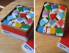 Pantone cookies boxed.