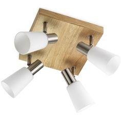 Spot pour salon contemporain 4 lampes Oska. Luminaire avec support en bois naturel très actuel0