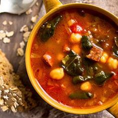 """Chickpea, Chorizo & Spinach Soup - """"Be sure to buy dry-cured, salami-style Spanish chorizo, not soft, Mexican-style sausage by the same name."""""""