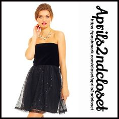 """❗1-HOUR SALE❗Black Dress Cocktail Sequin Metallic 💟NEW WITH TAGS💟 RETAIL PRICE: $78   ***Tagged BB DAKOTA for Urban Outfitters   * Strapless   * Full short skirt w/sequined Embellished overlay   * Back zip    * Approx 28"""" L   * Tag size 4(fits like an XS), will approx fit sizes 0-2, waist =27"""", chest=34"""" or Tag size 6, will approx fit sizes 2-4 (S).  Fabric: Cotton, polyester,Spandex;   Color:Black 123100 # sexy club homecoming 🚫No Trades🚫 ✅ Offers Considered*/Bundle Discounts✅ *Please…"""