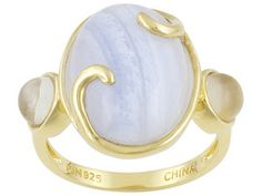 Stratify(Tm) 6.88ctw Oval Blue Lace Agate With Moonstone 18k Yg Over Sterling Silver Ring Erv $74.00