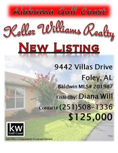 9442 Villas Drive, Foley, AL...MLS# 201987...$125,000...Discover low maintenance golf course community living close to beaches! This pristine condo overlooks the 8th fairway of beautiful Glen Lakes golf course & the view can be enjoyed from all main living areas. Wow Factors include: Open Floor plan with Florida Room, Guest Suite/Office with queen size Murphy Bed, Updated Master Bath, 2 Kitchen Pantries, Enclosed Outdoor Living Space & New Roof! Please contact Diana Munoz Will at 251-508-1336.