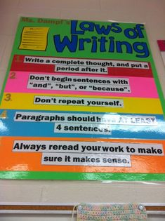 Laws of writing. While I may not agree with everything listed, writing teachers do have non-negotiables. Stating them and holding students accountable will improve writing!: