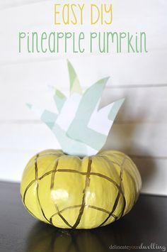 Pineapple Pumpkin, a simple fruit themed pumpkin for a twist on Fall time! Delineateyourdwelling.com