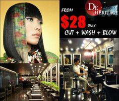 De Heritage July Promotion from $28 only (Cut + Wash + Blow)  from $128 only (Colour Treatment + Cut + Wash & Blow) T&C Apply*  Visit De Heritage at 545 Orchard Road #B1-06/10 Far East Shopping Centre S(238882), or contact 6235 5188 for appointment.