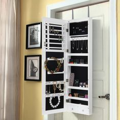Merveilleux Lifewit Jewelry Cabinet Wall Door Mounted Bedroom Armoire Lockable  Organizer With Mirror LED Light, White