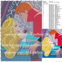 Aurora and Philippe cross stitch pattern