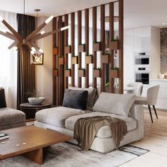 Wood Home Decor 2020 – What kind of wood is used for log homes? - Home Style Apartment Interior, Living Room Partition, Living Room Divider, Living Room Decor Modern, Home Interior Design, House Interior Decor, Drawing Room Interior, Living Room Design Modern, Living Room Designs