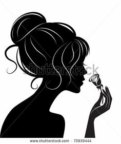 beauty girl silhouette with rose by De-V, via Shutterstock