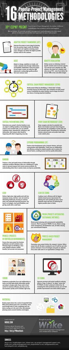 16 Popular Project Management Methodologies #infographic #ProjectMenagement #Management