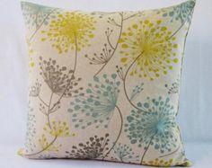 Mustard Teal Grey Pillow Cover Dandelion Flower Cushion