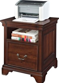 Wooden Printer Stand 1 Drawer File Cabinet Cherry Finish Home Office  Furniture #filecabinet