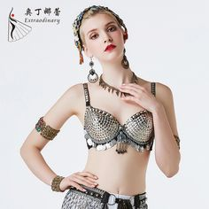 Belly dance bra ladies dance clothes unique square pieces tribal belly dance coins bead shield Metallic Studs Bra B/C CUP Belly Dance Bra, Tribal Belly Dance, Night Club Dance, Studded Bra, Dance Store, Girl Dancing, Sexy Bra, Dance Outfits, Girls Night