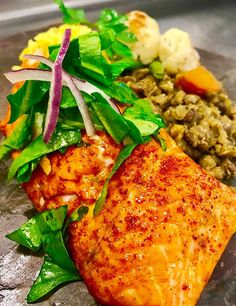 Photo of grilled salmon prepared by senior living food service.