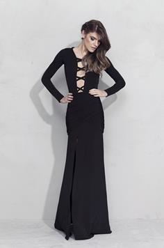 Vestido Longo Decote Preto