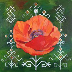Traditional Latvian folk symbols with a poppy blossom on green. Acrylic on canvas. 40x40cm. By Brigita Ektermane.
