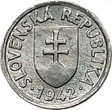 1942 SLOVAKIA Czech Republic Area OLD WWII Time Zinc 5 Halierov Coin i55261